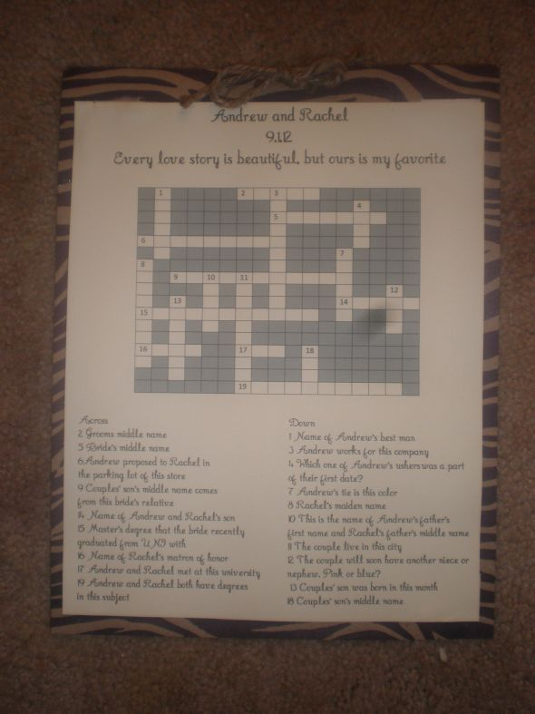 DIY Crossword Puzzles Weddingbee Photo Gallery