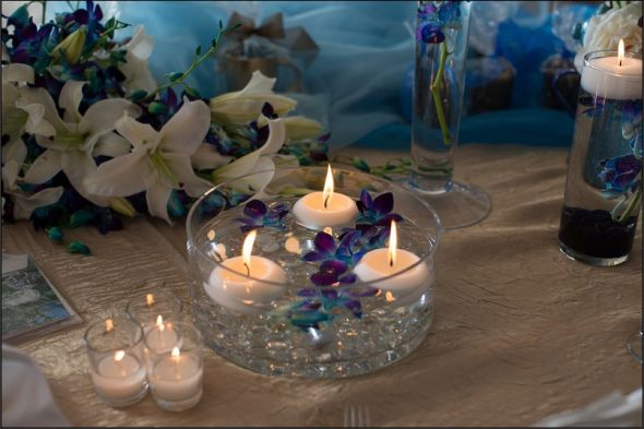 Picture Of A Prototype Of Our Blue Orchid Centerpieces