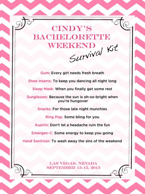 Bachelorette Party Survival Kit Weddingbee Photo Gallery