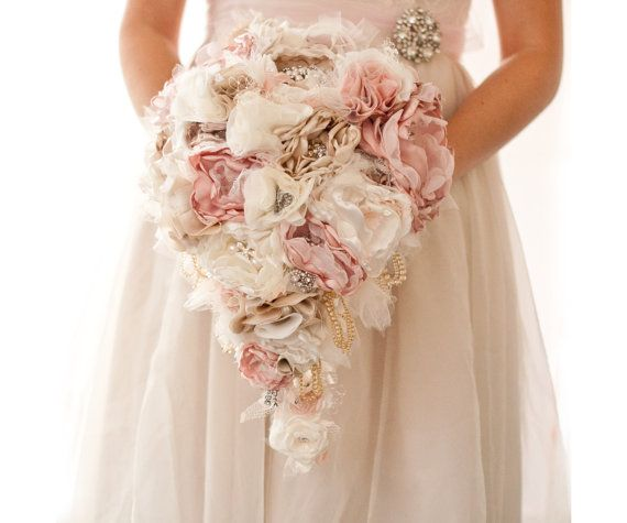 Cascading Fabric Flower And Brooch Bouquet Help