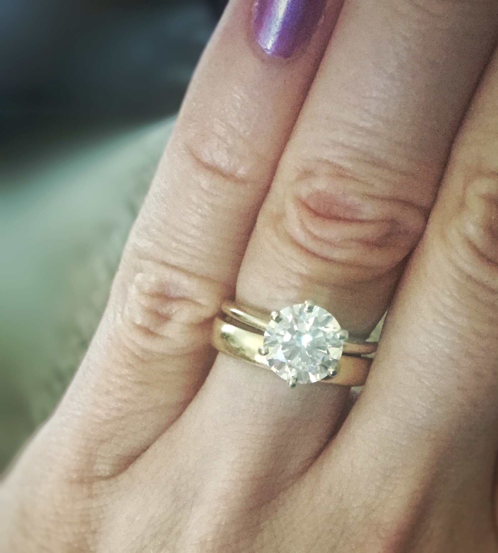 Thin Engagement Ring Thick Wedding Band Weddingbee