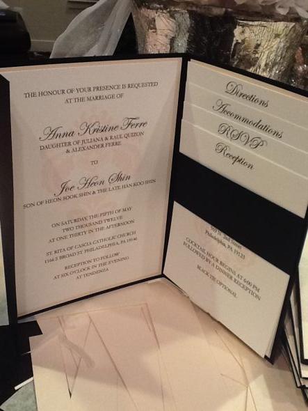 Black And Blush Pink Damask Pocketfold Ish Invitations