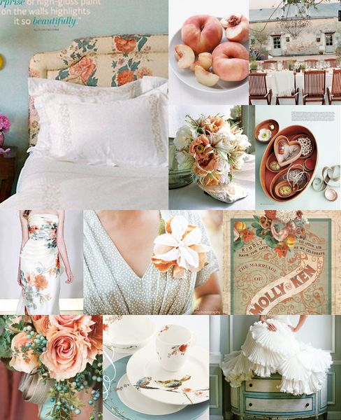 Our Theme and Inspiration Board Revealed! :  wedding color schemes los angeles 473 Antique Peach And Blue 473-antique-peach-and-blue