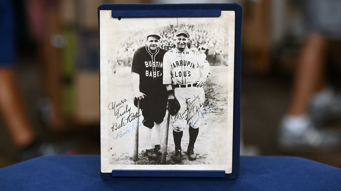 Babe Ruth Amp Lou Gehrig Signed Tour Photo