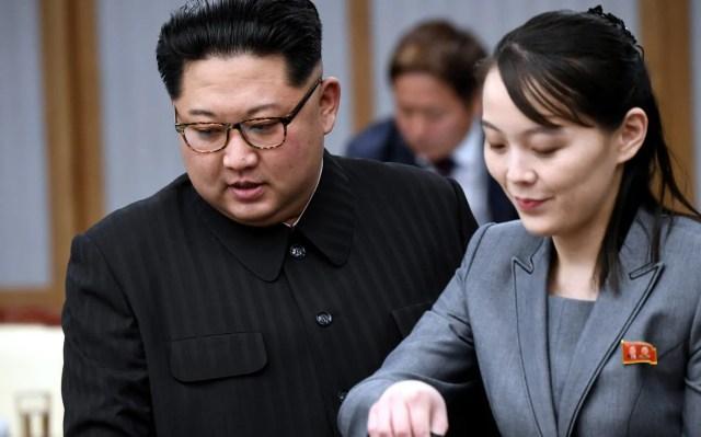 North Korean leader Kim Jong Un and his sister Kim Yo Jong, who has not been seen since the failed summit