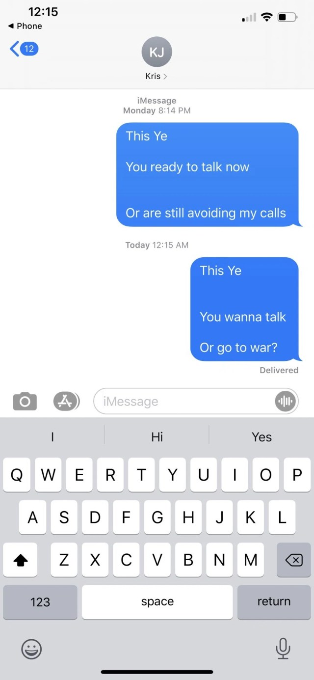 He shared a screenshot of his messages to Kris Jenner