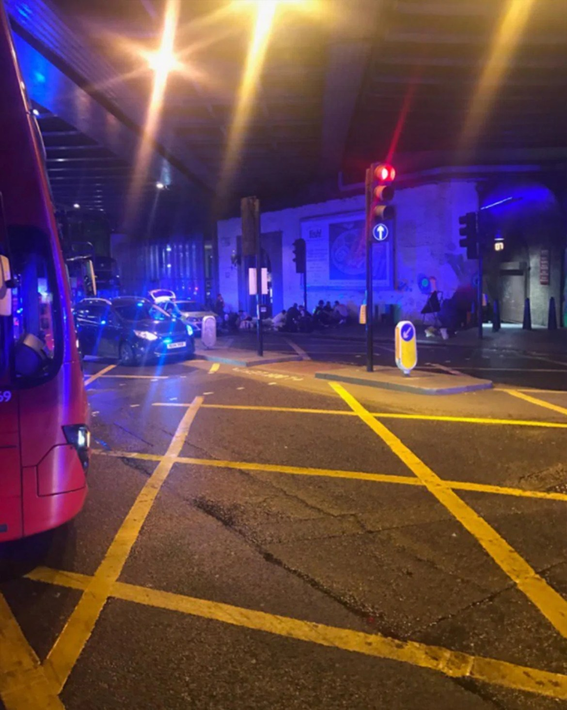 Terrified people can be seen being lying on the ground near Borough Market in London Bridge