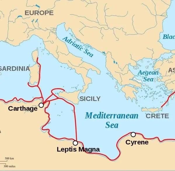 Phönizisches Gebiet und ausgedehnte Handelsnetzwerke im Mittelmeergebiet