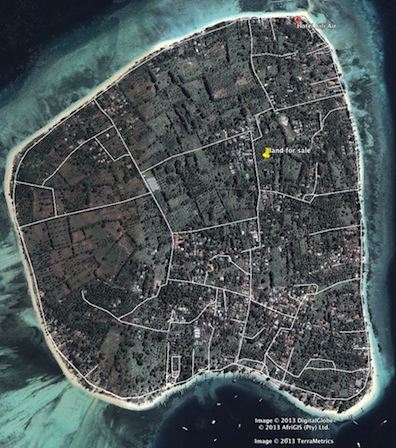 Gili Air real estate - freehold land - map