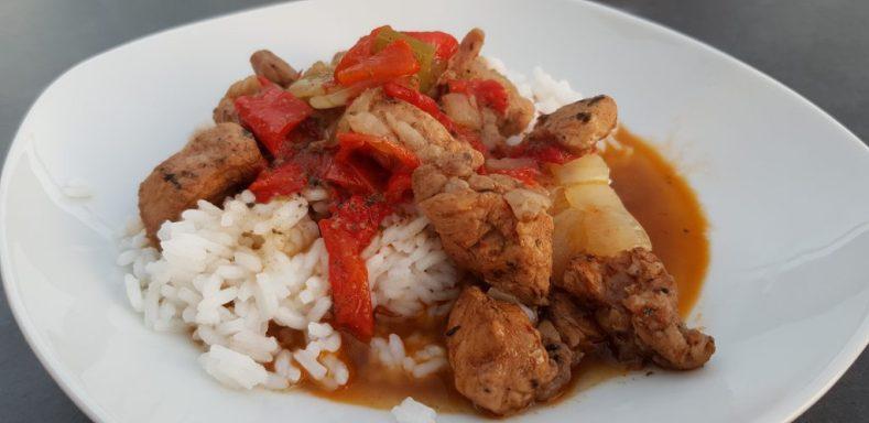 Kreolisches Kachelfleisch mit Reis