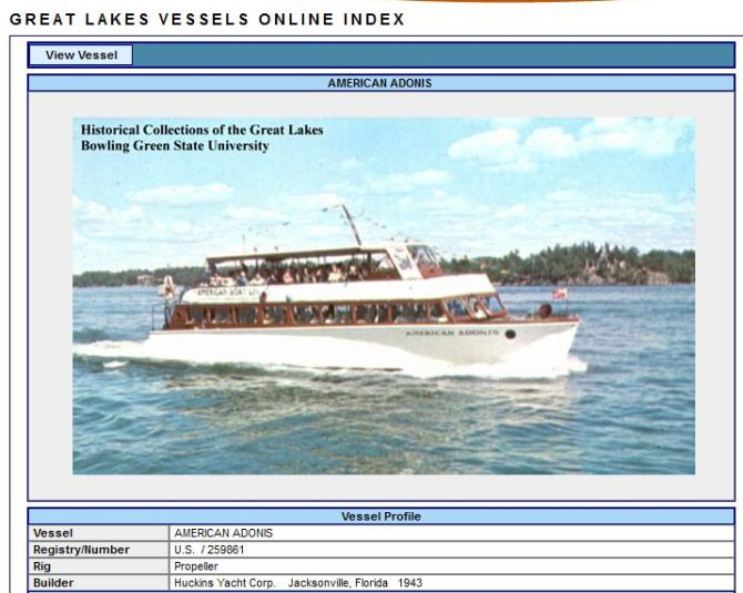 1000 Islands Tour Boat - American Adonis