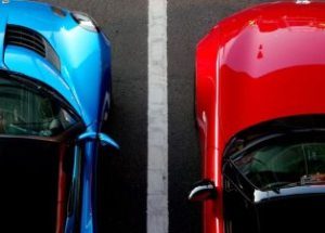 blue and red car