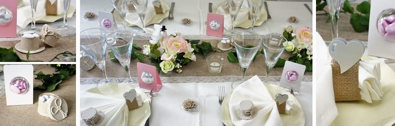 deco de table mariage ecru et rose toile de jute et dentelle 1001 deco