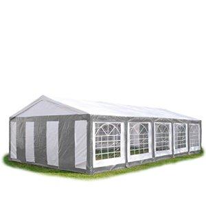 Tente de réception 5×10 m, toile de haute qualité 240g/m² PE gris-blanc construction en acier galvanisé avec raccordement par vissage