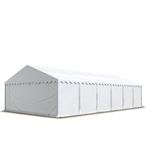 Abri / Tente de stockage PREMIUM – 6 x 12 m anti-feu en blanc – avec cadre de sol et renforts de toit, bâches en PVC haute densité 500 g/m² 100% imperméable, armature en acier galvanisé (antirouille), fixage par boulonnage