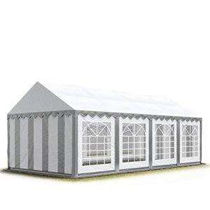 Tente Barnum de Réception 4×8 m ECONOMY Bâches Amovibles PVC 500 g/m² gris-blanc / Jardin Tonnelle Pavillon Chapiteau