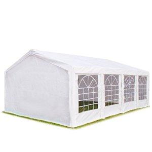 Tente de réception 4×8 m, toile de haute qualité 240g/m² PE blanc construction en acier galvanisé avec raccordement par vissage