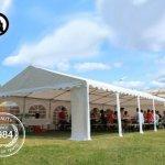 Tente Barnum de Réception 5×10 m ignifugee PREMIUM Bâches Amovibles PVC 500 g/m² gris-blanc Cadre de Sol Jardin INTENT24