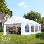 Tente de réception 4×8 m en blanc Chapiteaux mariages – PREMIUM – 500g/m² PVC – cadre del sol