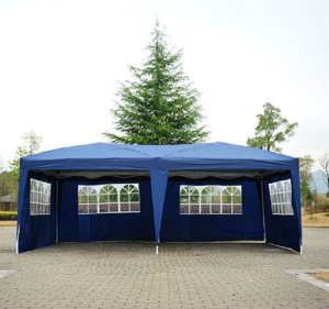 Tonnelle tente de reception pliante pavillon chapiteau barnum 3 x 6 m bleu cotes demontables 52
