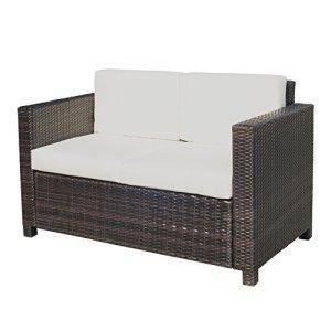 Canapé de jardin 2 places canapé droit 4 coussins déhoussables 130L x 70l x 80H cm résine tressée chocolat 22