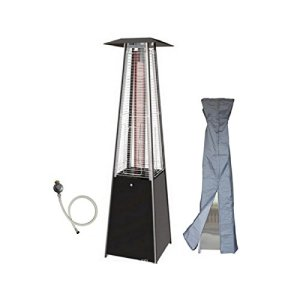 Parasol chauffant gaz flamme 13KW tube verre pyramidal chauffage exterieur pour terrasse + kit gaz complet + housse
