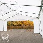 Abri / Tente de stockage ECONOMY – 6 x 12 m en blanc – toile PVC 500 g/m² imperméable / protection contre les rayons UV (80+) / structure robuste en acier galvanisé