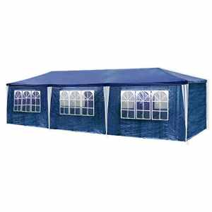 HG® Tonnelle Tente Pavillon de jardin étanche en polyéthylène et tubes d'acier avec 6 parois latérales amovibles et 2 entrées 3 x 9 m Tente bleu