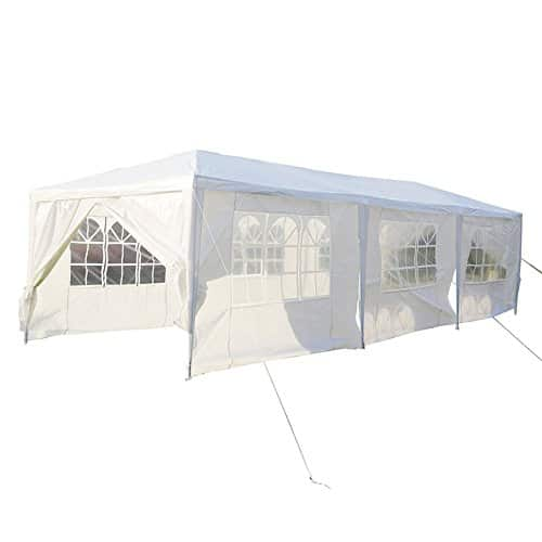 MCTECH® 3 x 9 m blanc Tente de réception exterieure Tente de jardin Pavillon Tente de bière Tente de fête Pavillon de fête comprenant,8 parois latérales, 6 x fenêtres, 2 x portes zippées, bâche imperméable en PE