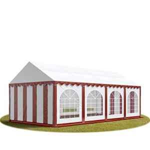 TOOLPORT Tente Barnum de Réception 4×8 m Premium Bâches Amovibles PVC 500 g/m² Rouge-Blanc + Cadre de Sol Jardin INTENT24
