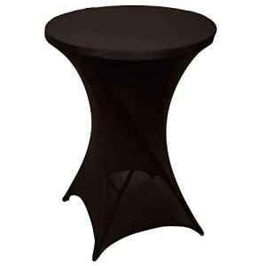FDBW Lot de 1 Housses de Table Mange Debout | ∅80-85 cm x 110 cm – Nappe Extensible pour Table de Bar, Table Haute, Mariage, Restaurant, Traiteur, Événement, Cocktail | Couvre Table Ronde | Noir