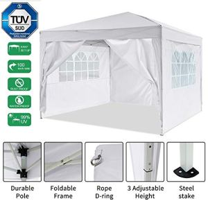 Gazebo/Tonnelle de Jardin Tente de réception 3x3m pavillon imperméable Tente Pliante de Jardin (Blanc)