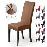 Housse de chaise Décor 6pièces housse de chaise Stretch-Housse Couverture de chaise de matériau spandex élastique pour un ajustement universel,très facile à nettoyer durable(Paquet de 6, Beige-pierre)