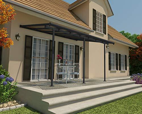 Palram Capri Pergola Adossée Aluminium Et Polycarbonate 3×4, pour Couvrir Une Terrasse Toute L'année – Garantie 7 Ans (12.5m², Gris Bronze)