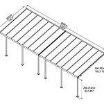 Palram Capri Pergola Adossée Aluminium Et Polycarbonate 3×8, pour Couvrir Une Terrasse Toute L'année – Garantie 7 Ans (25.4m², Gris Bronze)