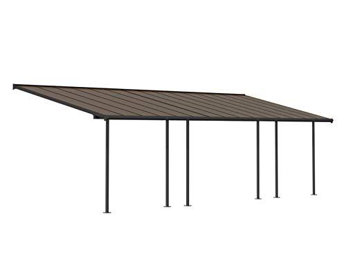 Palram Capri Pergola Adossée Aluminium Et Polycarbonate 3×9, pour Couvrir Une Terrasse Toute L'année – Garantie 7 Ans (27.3m², Gris Bronze)