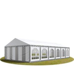 Tente de réception 6×12 m en gris-blanc Chapiteaux mariages – PREMIUM – 500g/m² PVC – cadre del sol