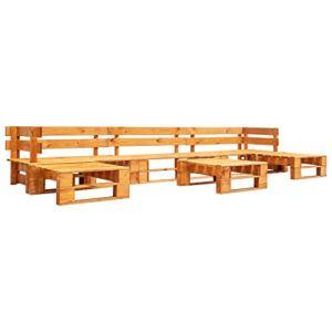 Tidyard Canapés de Jardin Palette 6 pcs | Mobilier de Jardin | Canapé de Terrasse Bois FSC Marron Miel