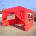 Tonnelle de Jardin Tente Gazebo Pavillon Auvent Pliable et résistant à l'Eau 3×3 m/ 3×6 m avec Panneaux Latéraux + Sac de Transport (Rouge-3×3 m)