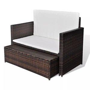 Nishore Jeu de Canapé de Jardin Canapé-lit Canapé de Plage à 2 Places en Résine Tressée Marron+Blanc Cassé 123 x 117 x 66 cm (l x P x H)