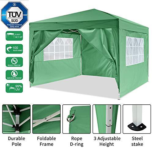Bunao Gazebo/Tonnelle de Jardin Tente de réception 3x3m pavillon imperméable Tente Pliante de Jardin (Vert)