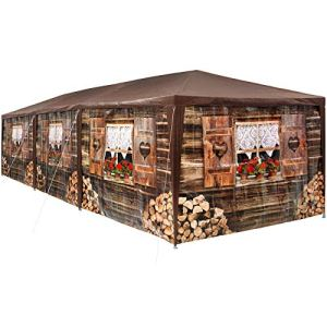 tectake 403122 – Tonnelle de Jardin Motif Chalet 3×9 m, 8 Parties latérales Amovibles, Charpente métallique Stable