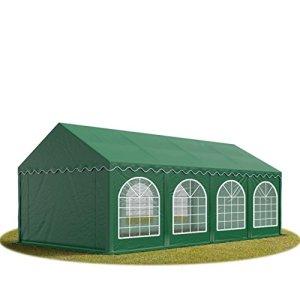 TOOLPORT Tente Barnum de Réception 4×8 m Bâches PVC 500 g/m² Vert Cadre de Sol Jardin