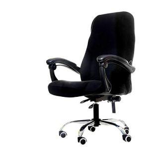 WPLSKY Housse de Chaise en Spandex Extensible Doux Housse de Chaise de siège d'ordinateur Anti-Sale Solide Housse de Protection Amovible pour chaises de Bureau Noir Noir