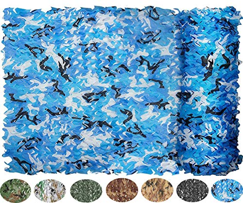 NICEFISH Masque de Camouflage Netting Netting Camouflage Militaire Camouflage Net Photographie décoration Fond Pare-Soleil Stores Chasse (Customize) (3×3.5M(10×11.5ft),Bleu)