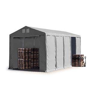 TOOLPORT Tente de Stockage Industriel Hangar 5×10 m à 4 mètres de Hauteur de côté avec bâches en PVC Gris de 550 g/m² 100% imperméable avec Porte zippée