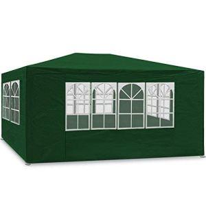 MaxxGarden Marquee 3x4m – Protection UV50+ – Hydrofuge – 12m² – pavillon, Tente de Jardin, chapiteau ou tonnelle du Festival – 4 parois latérales enroulables – 4 fenêtres (Vert)