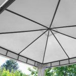TOOLPORT Pavillon de Jardin 3x4m ALU Premium 280 g/m² bâche imperméable pavillon 4 côtés Tente de Jardin Gris Clair 9x9cm Profil