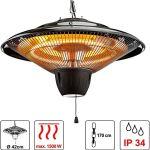 Cepewa Chauffage de plafond parasol chauffant avec chaîne 1500 W Spot halogène