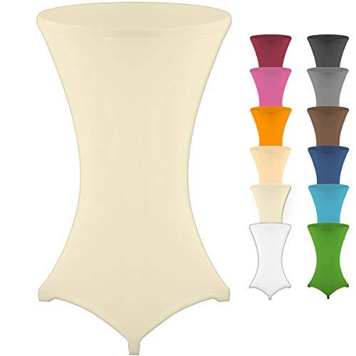 Gräfenstayn Housse pour table mange-debout – Différentes couleurs et 3tailles – Diamètres 60cm, 70cm et 80cm, ivoire, Ø 60